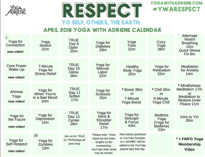 Yoga With Adriene FWFG Calendrier d'Avril Respect